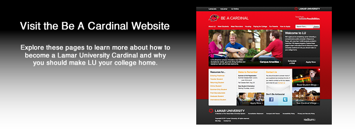 Be A Cardinal website graphic
