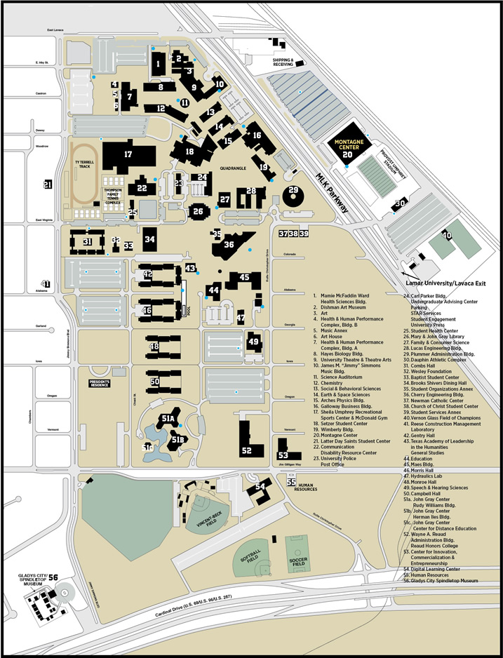 Campus Map Lamar University In Texas Lamar University - U of a campus map