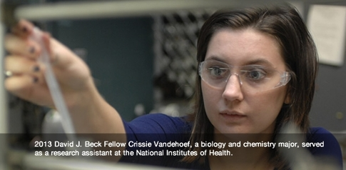 2013 Beck Fellow Crissie Vandehoef biology and chemistry major pictured working in a lab She worked as a research assistant at the National Institutes of Health