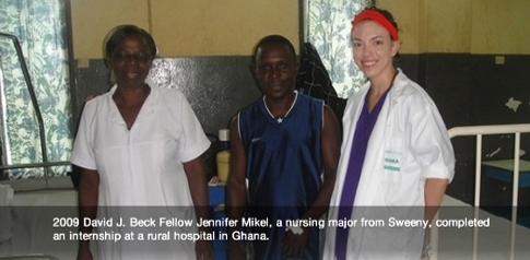 2009 Beck Fellow Jennifer Mikel pictured in Ghana hospital where she completed an internship