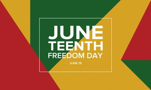 Yellow, Green, and Red Juneteenth Freedom Day design box June 19