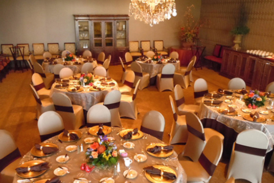 Lamar Room set for dinner for 50