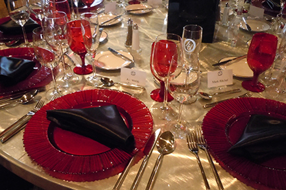 Place setting for President's Circle dinner