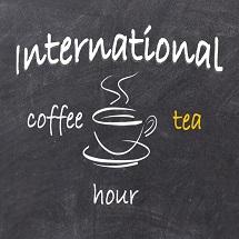 International Coffee Tea Hour, cup of smoking coffee, dark brown background