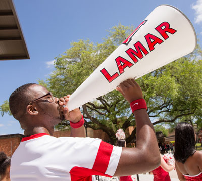lamar university cheerleader with megaphone