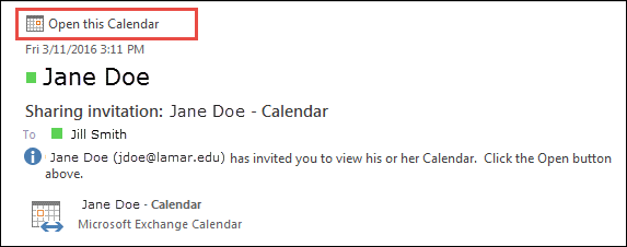 Outlook-Sharing Invite