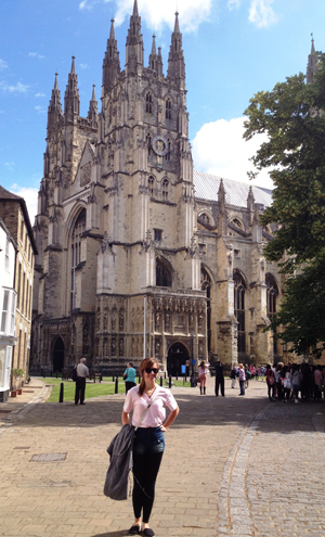 Chelsea Barnard outside Canterbury Cathedral