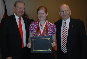 2013 Beck Fellow Amy Morgan with LU President James Simmons and Provost Steve Doblin