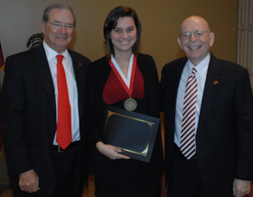 2013 Beck Fellow Crissie Vandehoef with LU President James Simmons and Provost Steve Doblin