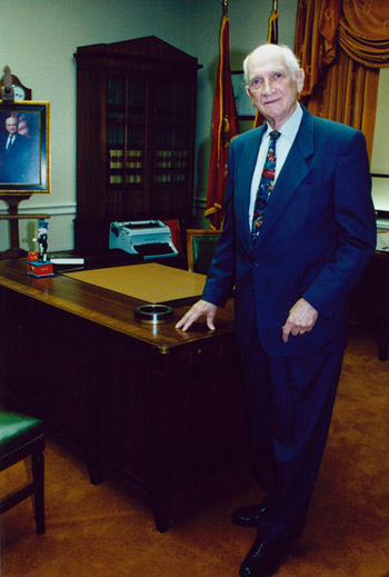 Hon. Jack Brooks in replica office at LU