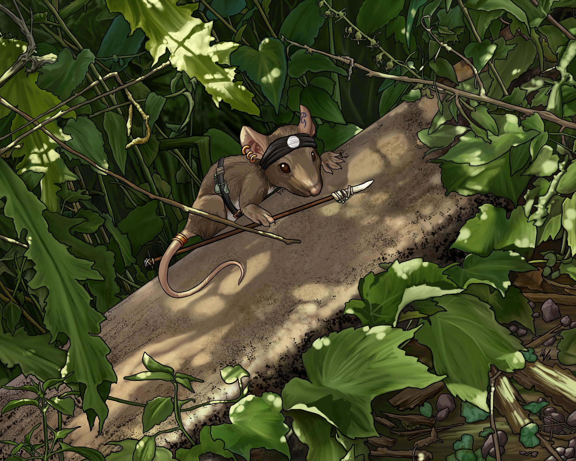 Comic illustration of mouse holding spear in tree