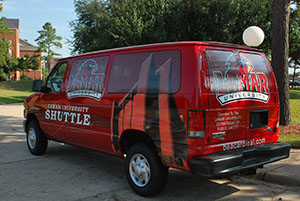 red shuttle van