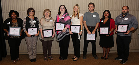 Award recipients at reception