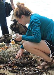 Helping clean the beach