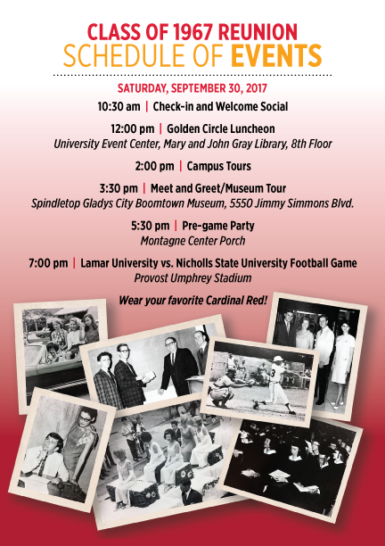 Class of 67 Reunion Schedule