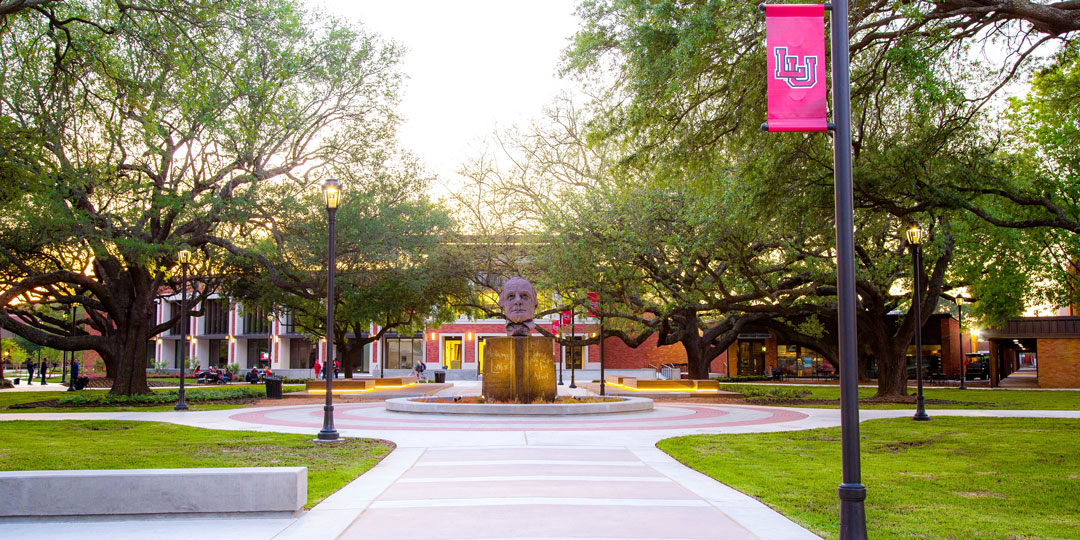 Lamar Quad with Mirabeau Statue