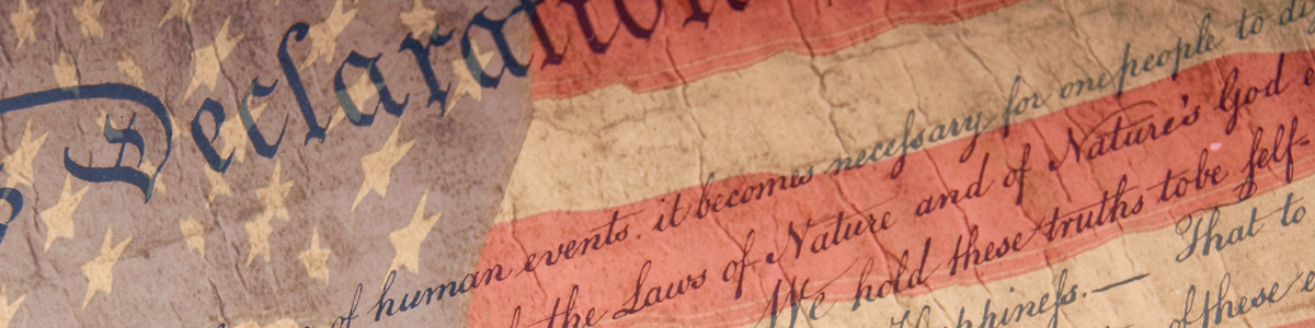 Declaration of independence text on faded American flag background