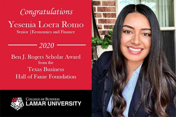 Yesenia Loera-Romo, recipient of prestigious business scholarship