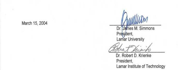 Signatures of Dr. James M. Simmons and Dr. Robert Krienke