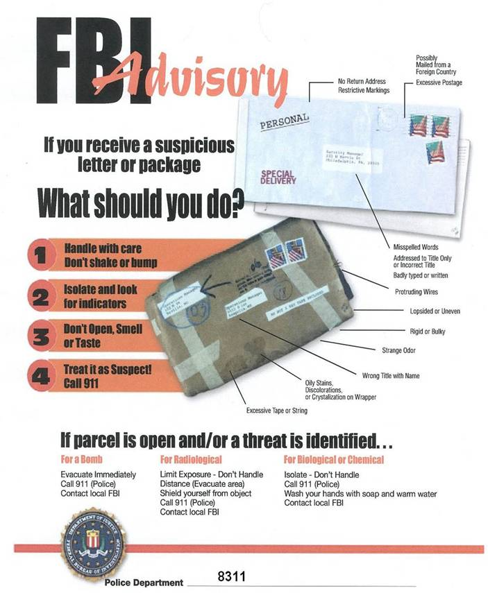 FBI Advisory for Suspicious Packages