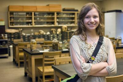 Michelle Chesnut in biology lab