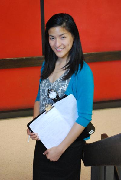 Elizabeth Wu standing on stairs