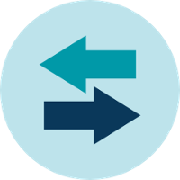 two arrows going in different directions