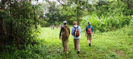 Biology students hiking in Belize