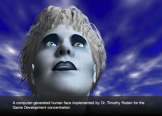 a computer-generated human face implemented by Dr. Timothy Roden for the Game Development concentration.