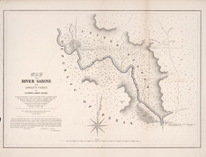 Antique map of the Texas-Louisiana border and Sabine river