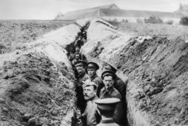 Men in war trench