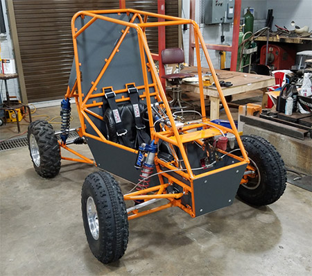 A team of 16 mechanical engineering students built the 2016 mini dune buggy to compete in California