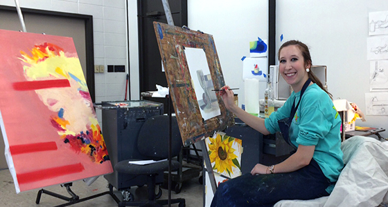 Student working in the painting studio.
