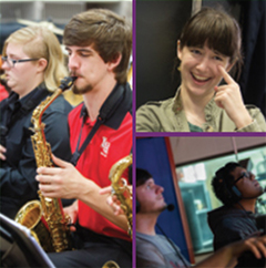 collage image of ASL, sax player, broadcasting students