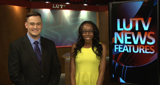 LUTV student news anchors Bruce Wright and Kyra Ellis