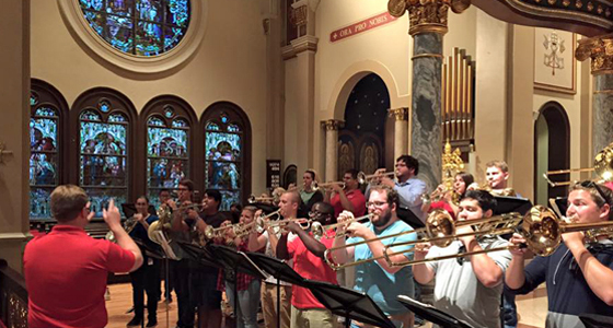 LU Brass Choir rehearsing at St. Anthony Cathedral Basilica