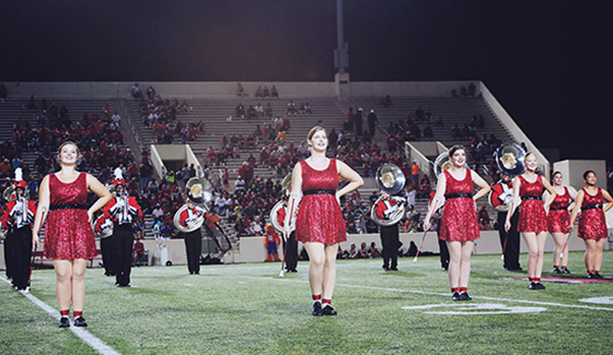 Twirlers in Red Uniforms