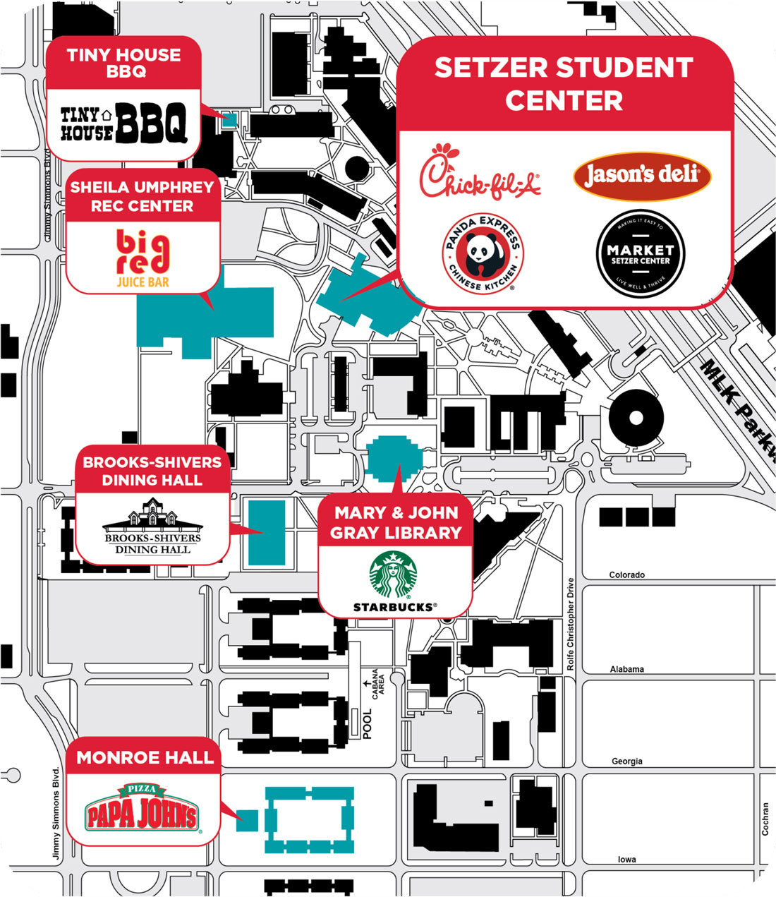 Dining Map at Lamar University