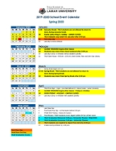 Spring 2020 Academic Calendar.Calendars Lamar University